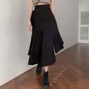 skirt Summer 2021 S, M Vest piece, irregular skirt piece Mid length dress commute High waist Irregular Solid color Type A 18-24 years old 30% and below other other Ruffles, asymmetric Korean version
