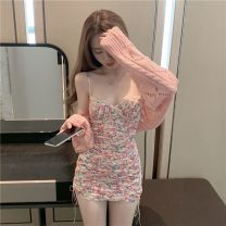 Dress Spring 2021 Cardigan sweater piece, suspender skirt piece S. M, average size Short skirt singleton  Sleeveless commute V-neck High waist Broken flowers Socket A-line skirt camisole 18-24 years old Type A Fold, lace up 30% and below other other