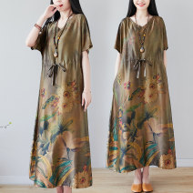 Dress Summer 2021 Decor M [95-120 kg], l [120-135 kg], XL [135-150 Jin], 2XL [150-170 Jin] longuette singleton  Short sleeve commute V-neck Loose waist Decor Socket Big swing Sleeve Others Type A ethnic style Pocket, print 51% (inclusive) - 70% (inclusive) other hemp