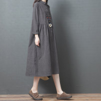 Dress Spring 2021 Picture color Mid length dress singleton  Long sleeves commute Polo collar Loose waist stripe Single breasted A-line skirt routine Others Type A literature Pocket, button 51% (inclusive) - 70% (inclusive) other hemp