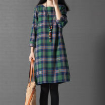 Dress Winter 2020 Mid length dress singleton  Long sleeves commute Crew neck Loose waist lattice Socket A-line skirt routine Others Type A Korean version pocket 51% (inclusive) - 70% (inclusive) other cotton