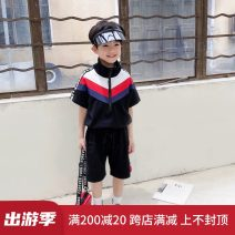 suit ROLLINGBABY black male summer Korean version Short sleeve + pants 2 pieces Thin money There are models in the real shooting Zipper shirt other Cotton blended fabric T184 Class B Cotton 95% other 5% 2, 3, 4, 5, 6, 7, 8, 9, 10, 11, 12, 13, 14 years old