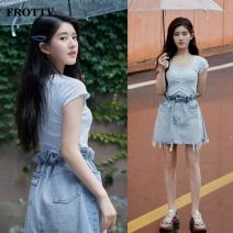 skirt Spring 2021 S,M,L,XL Blue top + light blue denim skirt Short skirt commute High waist A-line skirt Solid color Type A 18-24 years old PSQ20020122 More than 95% other FROTTV cotton Fringes, ruffles, pockets Korean version 401g / m ^ 2 (inclusive) - 500g / m ^ 2 (inclusive)