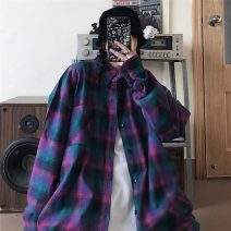 shirt Purple, blue M,L,XL Spring 2021 cotton 96% and above Long sleeves commute Regular square neck Single row multi button routine lattice 18-24 years old Straight cylinder My brother is style Korean version Button, pocket