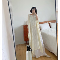 Dress Spring 2021 Light yellow, apricot, light yellow (with interior), apricot (with interior) Average size Mid length dress singleton  three quarter sleeve commute Crew neck Loose waist Solid color Socket Big swing Bat sleeve Others 25-29 years old Type H Korean version YZS02 other cotton