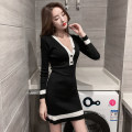 Dress Autumn 2020 Black, white Average size Short skirt singleton  Long sleeves commute V-neck High waist other Socket A-line skirt routine Others Type A Other / other Korean version Button 71% (inclusive) - 80% (inclusive) knitting cotton