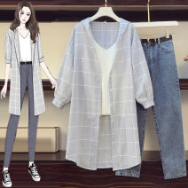 Women's large Spring 2021 Three piece suit, shirt + sling, single shirt, single pants M [recommended 80-100 Jin], l [recommended 100-120 Jin], XL [120-140 Jin], 2XL [140-160 Jin recommended], 3XL [160-180 Jin recommended], 4XL [180-200 Jin recommended] Other oversize styles Three piece set commute