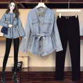 Women's large Spring 2021 Denim top, single pants, age reducing suit L [100-120 Jin recommended], XL [120-140 Jin recommended], 2XL [140-160 Jin recommended], 3XL [160-180 Jin recommended], 4XL [180-200 Jin recommended] Other oversize styles Two piece set commute easy moderate Cardigan Long sleeves