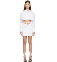 Dress Spring 2021 Black, off white S,M,L Short skirt singleton  Long sleeves commute tailored collar middle-waisted Solid color Single breasted A-line skirt routine 25-29 years old Type A Button polyester fiber