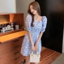 Dress Summer 2021 blue S,M,L,XL Mid length dress singleton  Short sleeve Sweet square neck Decor puff sleeve Type A