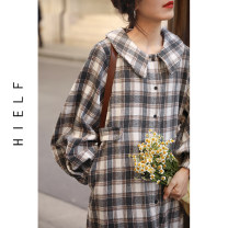 Dress Spring 2021 Grey, brown M, L Mid length dress singleton  Long sleeves Sweet Doll Collar High waist lattice Single breasted other routine Others Type H More than 95% other polyester fiber college