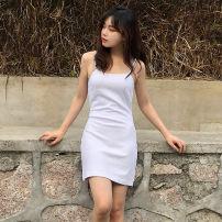 Dress Summer of 2019 White suspender skirt XS,S,M,L,XL Short skirt High waist 51% (inclusive) - 70% (inclusive) cotton