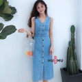 Dress Summer of 2019 Denim blue S,M,L,XL Mid length dress singleton  Sleeveless commute V-neck Elastic waist Solid color Single breasted A-line skirt routine straps 25-29 years old Type H Korean version Make old 81% (inclusive) - 90% (inclusive) Denim cotton
