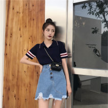 Wool knitwear Summer 2020 Average size Navy, Navy Dress Short sleeve singleton  Socket cotton 31% (inclusive) - 50% (inclusive) Regular Thin money commute easy Polo collar routine Solid color Socket Korean version 18-24 years old Splicing