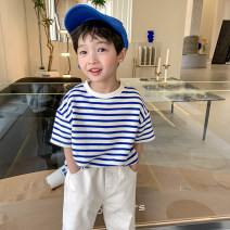 T-shirt Blue bar Class two male summer Short sleeve Crew neck Korean version There are models in the real shooting nothing other stripe Other 100% 211MYT112 Class B Seven, eight, three, six, five, four, ten, nine Chinese Mainland