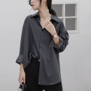 shirt Gray, black S,M,L,XL,2XL Spring 2021 other 31% (inclusive) - 50% (inclusive) Long sleeves commute Medium length Polo collar Single row multi button shirt sleeve Solid color 18-24 years old Straight cylinder Korean version Synthetic fiber
