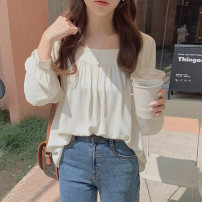 shirt Apricot, grey S,M,L,XL Spring 2021 Viscose 81% (inclusive) - 90% (inclusive) Long sleeves commute Regular square neck Socket routine Solid color 18-24 years old Straight cylinder Korean version fold Chiffon