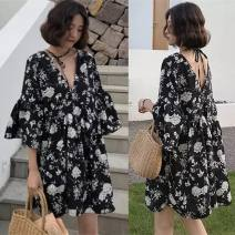 Dress Summer 2021 Small black flowers, big white flowers M,L,XL,2XL,3XL,4XL Short skirt singleton  elbow sleeve commute V-neck Loose waist Decor Socket A-line skirt Lotus leaf sleeve Others 18-24 years old Type A Korean version backless 81% (inclusive) - 90% (inclusive) other polyester fiber