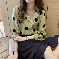 shirt Green, apricot, black M,L,XL,2XL,3XL Spring 2021 polyester fiber 81% (inclusive) - 90% (inclusive) Long sleeves commute Regular tailored collar Single row multi button shirt sleeve Dot 18-24 years old Straight cylinder Korean version printing man-made fiber