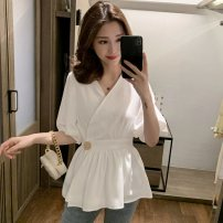 shirt white M,L,XL,2XL,3XL,4XL Summer 2021 polyester fiber 96% and above elbow sleeve commute Medium length V-neck other routine Solid color 18-24 years old Straight cylinder Korean version Button viscose
