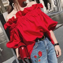 shirt gules Average size Summer 2021 polyester fiber 91% (inclusive) - 95% (inclusive) Short sleeve commute Regular One word collar Socket bishop sleeve Solid color 18-24 years old Straight cylinder Korean version Lotus leaf edge, fungus Synthetic fiber