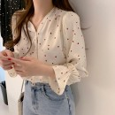 shirt Apricot, black S,M,L,XL,2XL Spring 2021 polyester fiber 51% (inclusive) - 70% (inclusive) Long sleeves commute Regular V-neck Single row multi button pagoda sleeve other 18-24 years old Straight cylinder Korean version printing blending