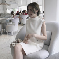 Dress Summer 2021 white S,M,L,XL Short skirt singleton  Sleeveless commute stand collar Loose waist other Socket A-line skirt other 18-24 years old Type H Korean version zipper 81% (inclusive) - 90% (inclusive) other polyester fiber