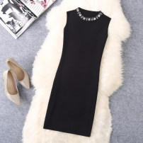 Dress Autumn of 2019 black M,L,XL Middle-skirt singleton  Sleeveless commute stand collar middle-waisted Solid color Socket One pace skirt 25-29 years old Type H Korean version Nail beads, three-dimensional decoration A881 30% and below knitting