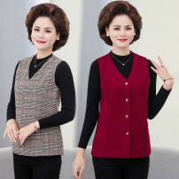 Middle aged and old women's wear Summer 2020 Khaki, grey, Burgundy, blue, red XL suggests 95-115 Jin, 2XL 116-130 Jin, 3XL 131-145 Jin, 4XL 146-165 Jin fashion Vest easy singleton  lattice 40-49 years old Cardigan thin V-neck have cash less than that is registered in the accounts lm2020 Other / other