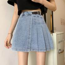 skirt Summer 2021 S [recommended 80-95 kg], m [recommended 95-110 kg], l [recommended 110-120 kg], XL [recommended 120-135 kg], 2XL [recommended 135-150 kg], 3XL [recommended 150-170 kg], 4XL [recommended 170-200 kg] Black, blue Short skirt commute High waist Pleated skirt Solid color Type A Denim