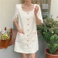 Dress Summer 2021 White, black Average size Short skirt singleton  Short sleeve commute stand collar Loose waist Solid color Single breasted other other Others 18-24 years old Korean version Button 71% (inclusive) - 80% (inclusive) other other