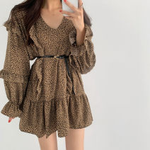 Dress Spring 2021 Beige, brown S, M Mid length dress singleton  Long sleeves commute V-neck High waist Leopard Print 18-24 years old Type A Korean version 81% (inclusive) - 90% (inclusive)