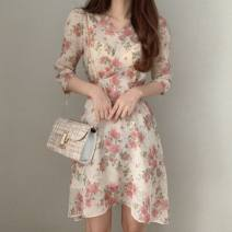 Dress Spring 2021 Pink Average size longuette singleton  elbow sleeve commute V-neck High waist Decor Socket A-line skirt other Others 18-24 years old Type A Korean version 71% (inclusive) - 80% (inclusive) other other