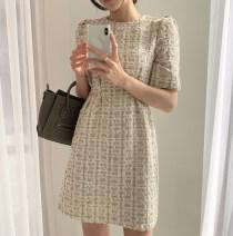 Dress Summer 2020 Apricot [in stock], black [in stock] S, M Short skirt singleton  Short sleeve commute High waist lattice A-line skirt Type A 71% (inclusive) - 80% (inclusive)