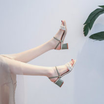 Sandals 34,35,36,37,38,39,40 Light green, light pink Mesh Other / other Barefoot Thick heel Middle heel (3-5cm) Spring 2021 Flat buckle Korean version Solid color Adhesive shoes Youth (18-40 years old) rubber daily Back space Flowers, beads, thick heels Low Gang Hollow Pig skin Pig skin Roman shoes