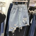 skirt Spring 2021 S,M,L,XL Retro Blue, Retro Black Mid length dress commute High waist Denim skirt Solid color 30% and below other Other / other other Tassels, holes, pockets, buttons, zippers Korean version