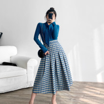 skirt Winter of 2019 XS,S,M,L Blue, purple, pink Retro High waist Pleated skirt lattice Type A 18-24 years old K0882 30% and below other Special Dorothy other fold