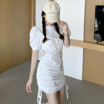Dress Spring 2021 White, black S, M Short skirt singleton  Short sleeve commute Crew neck High waist other One pace skirt routine Type H Korean version Hollowing out 51% (inclusive) - 70% (inclusive) other