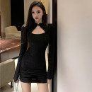 Dress Spring 2021 black S,M,L Short skirt singleton  Long sleeves commute stand collar High waist Solid color One pace skirt Type H Korean version Hollowing out 51% (inclusive) - 70% (inclusive) polyester fiber