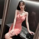 Dress Summer 2021 Black, pink S code, M code, l code Short skirt singleton  Sleeveless commute V-neck High waist Solid color Socket A-line skirt camisole Type A Korean version fold 51% (inclusive) - 70% (inclusive) cotton