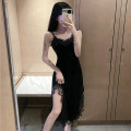 Dress Spring 2021 black S,M,L,XL Mid length dress singleton  Sleeveless commute V-neck High waist Solid color One pace skirt camisole Type H Korean version Backless, stitching, lace 51% (inclusive) - 70% (inclusive) polyester fiber