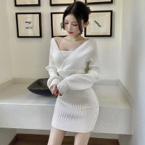 Dress Spring 2021 Gray, white, black Average size Short skirt Fake two pieces Long sleeves commute V-neck middle-waisted Solid color Socket Pencil skirt Bat sleeve Breast wrapping 18-24 years old Type H Other / other Korean version M370 51% (inclusive) - 70% (inclusive) knitting acrylic fibres
