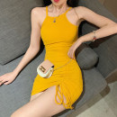 Dress Summer 2021 Grey, pink, yellow, black, apricot (chest patch) Average size Short skirt singleton  Sleeveless commute High waist Solid color Socket Others 18-24 years old Other / other Korean version 31% (inclusive) - 50% (inclusive) polyester fiber