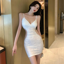 Dress Summer 2021 white S,M,L Short skirt singleton  Sleeveless commute square neck High waist Solid color Socket One pace skirt routine Others 18-24 years old Type A Korean version Splicing A8519 51% (inclusive) - 70% (inclusive) other other