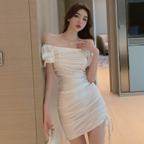 Dress Summer 2021 White, black M, L Short skirt singleton  Short sleeve commute One word collar High waist Solid color One pace skirt Type H Korean version backless 51% (inclusive) - 70% (inclusive) polyester fiber