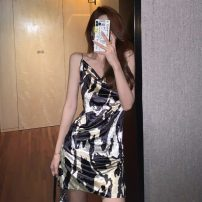 Dress Summer 2021 Cow pattern S,M,L Short skirt singleton  Sleeveless commute other Socket camisole 18-24 years old Korean version 595# 51% (inclusive) - 70% (inclusive) polyester fiber