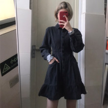 Dress Spring 2021 Retro carbon grey (long sleeve), carbon grey (short sleeve) S,M,L,XL Short skirt singleton  Long sleeves commute Polo collar High waist Solid color Single breasted Ruffle Skirt puff sleeve Others 18-24 years old Type A Korean version Pleats, buttons, pockets Denim cotton