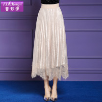 skirt Winter of 2019 S M L XL 2XL 3XL 4XL Black Khaki Mid length dress commute High waist Pleated skirt Solid color Type A 30-34 years old 81% (inclusive) - 90% (inclusive) FX.&Mongyi polyester fiber Pleated mesh lace Korean version Polyester 89.2% polyurethane elastic fiber (spandex) 10.8%