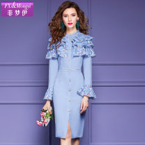 Dress Spring 2021 Sky blue pink S M L XL 2XL 3XL Mid length dress singleton  Long sleeves commute stand collar High waist Solid color zipper One pace skirt pagoda sleeve 30-34 years old Type H FX.&Mongyi Retro Stitched button zipper lace F21CL37794 More than 95% polyester fiber Polyester 100%