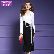 Dress Spring 2020 Black and white S M L XL 2XL 3XL 4XL Mid length dress singleton  Long sleeves commute Polo collar middle-waisted Solid color zipper A-line skirt routine Others 30-34 years old Type H FX.&Mongyi lady Sequin zipper FX9CL22031 More than 95% polyester fiber Polyester 100%